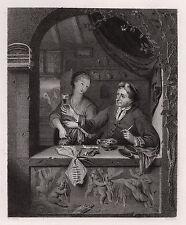 "Spectacular 1800s Frans van Mieris Engraving ""Dutch Ale House"" SIGNED Framed COA"