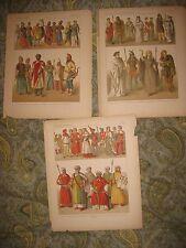 SET 3 ANTIQUE 1880 GERMAN GERMANY NORDIC DRUID FEMALE MILITARY FASHION PRINT NR
