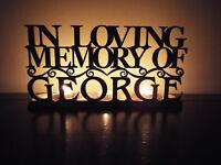 """Personalised led tea light holder """"In loving memory of {name}"""""""