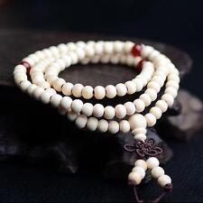 WHITE 6mm Sandalwood Buddhist Buddha Meditation Prayer 108 Bead Mala Bracelet