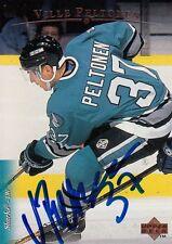 96 VILLE PELTONEN San Jose SHARKS Autographed Signed Hockey Upper Deck Card 384