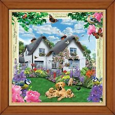 """Delphinium Cottage with golden labs & bird  Mini 300 Piece real wood 7.7"""" frame"""