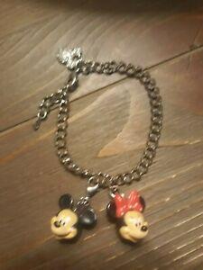 Walt Disney World Charm Bracelet,Mickey Mouse Rhinestone & Minnie, Mickey Charms