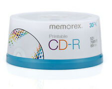 30 New Memorex 52X White Inkjet Printable 700MB CD-R [FREE USPS Priority Mail]