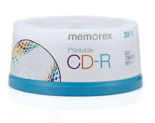 30 New Memorex 52X White Inkjet Printable 700MB CD-R [FREE USPS Priority Mail]