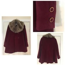 TU Red Burgundy Coat Fur Collar Rrp£40 Size 10 New Tagged (871)