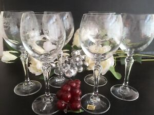 Set of 6 Vintage Bohemian Crystal Tall Hock Glasses Etched Swags/ Tails 19 Cms