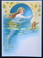 Blank Art Note Card Mermaid & Frog courtship Nos Pleiades Press #161 fantasy