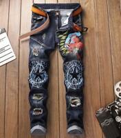 Mens Slim Straight denim jeans Spiderman embroidery denim jeans pants trousers