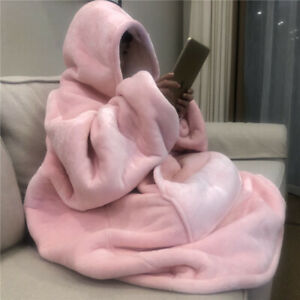 Winter Warm TV Sofa Blanket with Sleeves Fleece Pocket Hooded Weighted Blanket A
