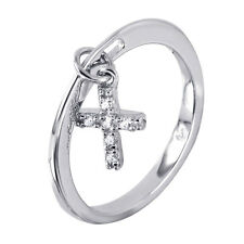 925 STERLING SILVER LADIES DANGLING CROSS RING W/ DIAMOND ACCENTS/ SZ 5 - 9