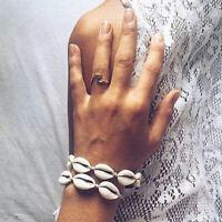 Shell Boho Bracelet Beaded Sea Woven Handmade Wrist Women Open Bangle