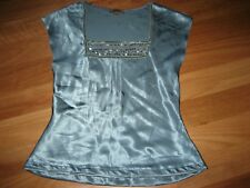 LADIES CUTE SHINEY BLUE POLYESTER SEQUIN SLEEVELESS TOP BY VALLEY GIRL SIZE 8