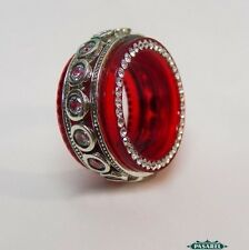 New Design Sterling Silver CZ And Red Acrylic Swiveling Band / Ring