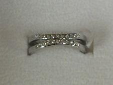 NEW NIB, Skagen Denmark Double Band Silver Ring, Swarovski Crystals, Size 5 1/2
