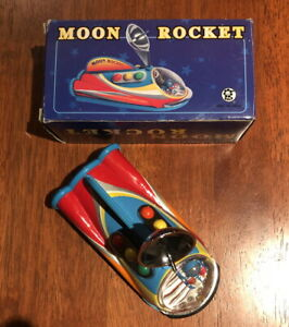 Tin & Plastic Space Toy with Box Moon Rocket New Old Stock 13cmx 6.5cm