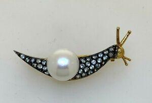 Brooch Snail Blue Topaz, Pearl & Diamonds Gold & Silver
