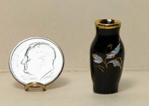 Tiny Black Porcelain Vase w/gold 1:12 Dollhouse Handcrafted