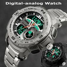 Digital Analog Stainless Steel Military CHRONO Date LED Mens Sport Wrist Watch