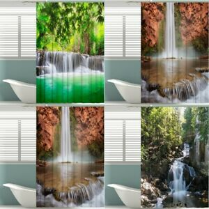 Waterproof Natural Scenery Bathroom Shower Curtain Printed Fabric With 12 Hooks