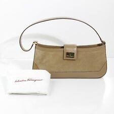 951c1363de DARLING FERRAGAMO ITALY TAN SUEDE   LEATHER TRIM GOLD HARDWARE BAGUETTE  HANDBAG