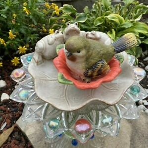 Repurposed Garden Glass Bottle Art with Bird and Frogs
