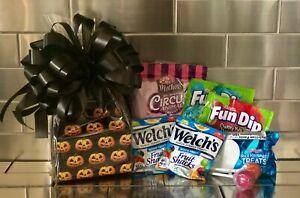 Kids Halloween Gift Basket/Gift Box Pumkin Theme Black Bow Cookies & Candy