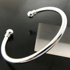 BANGLE BRACELET GENUINE REAL 925 STERLING SILVER S/F SOLID BEAD CUFF DESIGN