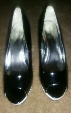 New black and white shoes by Newport news, peep toe, women block heel size 6 med