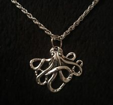 """Small Octopus Necklace Pendant 19""""chain Silver Charm Animal Unusual Steampunk UK"""