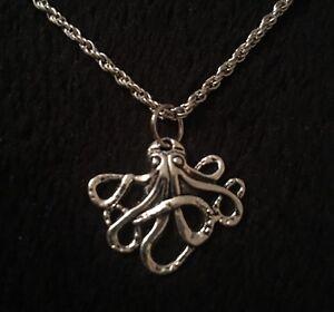 "Small Octopus Necklace Pendant 18"" chain Silver Charm Kraken Unusual Steampunk"