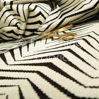 New Geometric Thin Chevron Striped Black Cream Soft Velvet Upholstery Fabrics