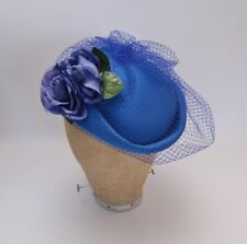 Vintage Veiled Floral Detail Royal Blue 40s/50s Style Hat Goodwood/Wedding/Races