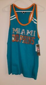CUTE Womans Official MIAMI DOLPHINS NFL Team Apparel Tank Topw/BLING Med NWT