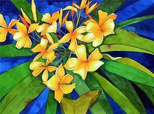Art Original Watercolor Painting HAWAII YELLOW PLUMERIA by Karin Novak-Neal