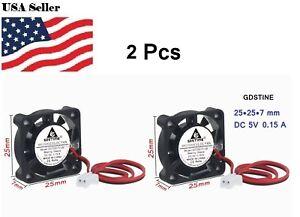 2Pcs Gdstime 2cm 25mm x 7mm 2507 DC 5V 2Pin Brushless Cooler Cooling Fan
