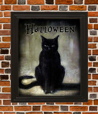 Vintage Prim Halloween Black Cat Print Poster Giclee Laser 8 x 10