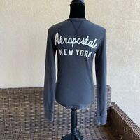 Womens Aeropostale Logo Ribbed Knit Fitted Long Sleeve Top NEW NWT Size XS Gray