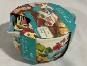 Pioneer Woman Gorgeous Floral 4 Pc Measuring Cup Bowl Set Breezy Blossom New