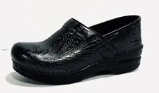 Dansko Black Floral Tooled Leather Professional Clogs/Shoes~Size 38(US 7.5-8)