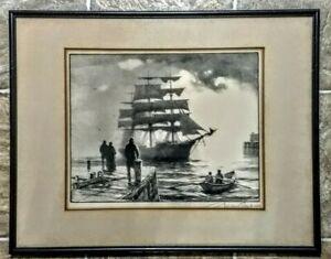 Vintage Gordon Grant Signed Original Art MAKING PORT