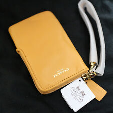 NWT COACH MUSTARD Yellow Legacy Leather Universal iPhone Cellphone Case Wristlet