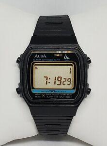Mens Seiko Alba Yacht Logo Black Plastic Alarm Chrono Digital Watch Y789-4150 C7