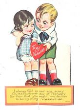 "Vtg 1940's ""MIGHT DECLINE TO BE MY LOVING VALENTINE"" Valentines Day Card"