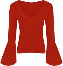 Womens Flare Long Sleeve V Neck Viscose Tops 8-22 Red 16-18