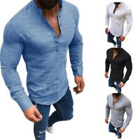 Mens Slim T-Shirt Long Sleeve Linen Shirts Casual Breathable Soft V Neck Tops US