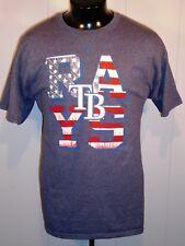 TAMPA BAY RAYS MEN'S T SHIRT L DENIM S. SLEEVE AMERICANA MLB BASEBALL MAJESTIC