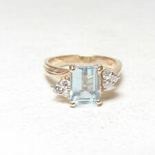 Estate 14K Yellow Gold 1.25 Ct Natural Light Blue Aquamarine And Diamond Ring