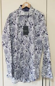 Blake Mill Men's Shirt Size Large White Purple Mix Collared Smart, New with tags