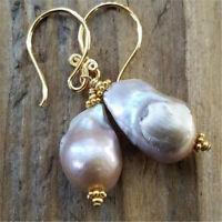 15-19mm purple Baroque South Sea pearl earring gold hooks temperament jewelry